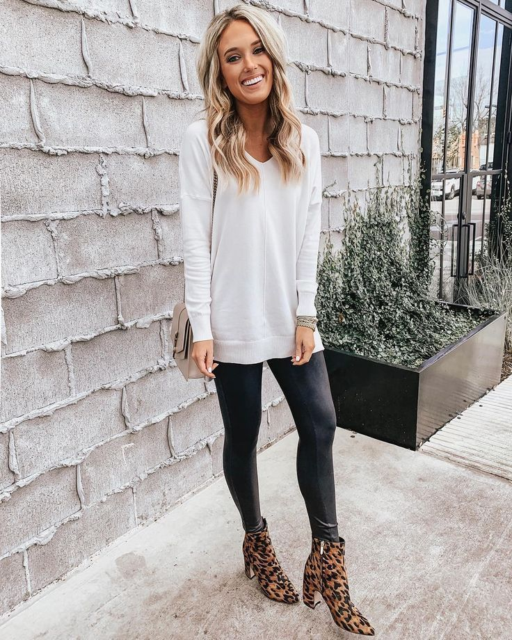leopard print ankle boots outfit with leggings and sweater