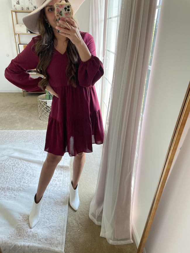 amazon fall fashion finds tunic dress with white ankle boots