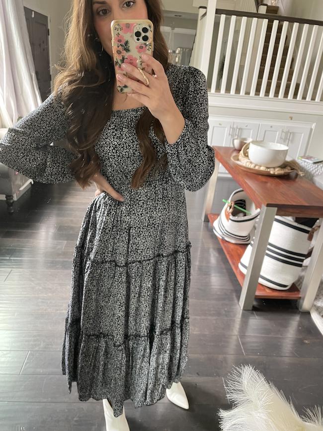 fall amazon fashion try on haul black maxi dress